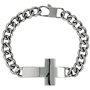 Surgical Steel ID Cross Bracelet, 8.5 inch/21.59 centimeters Long
