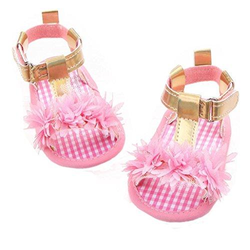 Igemy 1Paar Neugeborene Baby Mädchen Blumen Sandalen Krippe Anti Slip Soft Sole Schuhe Rosa