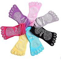 Kamay 's - Calcetines para yoga, pilates etc (suela antideslizante), en 7 colores diferentes, morado