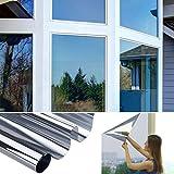 KINLO Spiegelfolie Sonnenschutzfolie 75cm x 300cm Selbstklebende Fensterfolie Tönungsfolie Sichtschutz Wärmeisolierung 99% UV-Schutz Silber