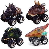 Tire hacia atrás los Coches de Dinosaurio,4 pcs Mini vehículo de Dinosaurio impulsado por fricción Animal Car Toys Favores de Partido Regalos para niños Niñas Gusspower