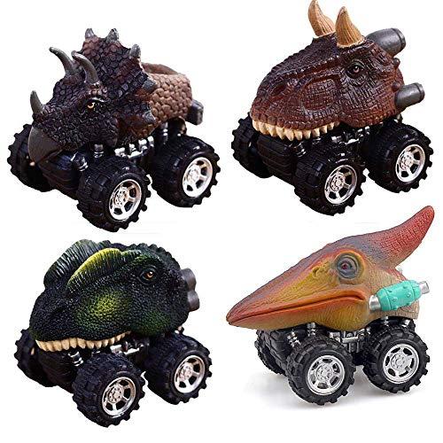 ALIKEEY 4Pcs Animal Niños Regalo Dinosaurio Juguete Modelo Mini Juguete Coche Regalo Pull Back Coche Juguete Clasico En Bloque Rompecabezas Inteligente Inteligentes
