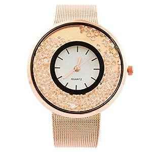 MJartoria Damen Vintage Armbanduhr Quarz Uhr Modeschmuck Milanaiseband Mode Design mit Strass Rosagold Farbe
