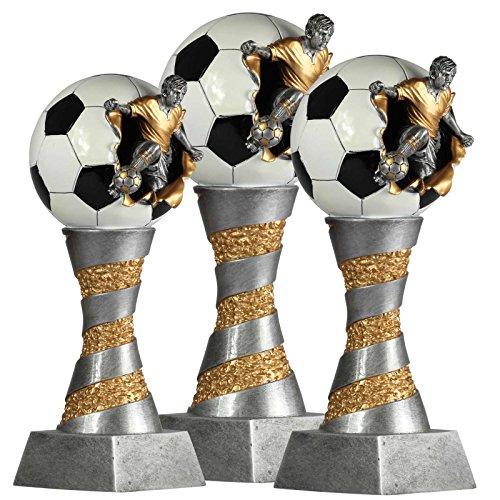 SET, je 1 x Pokal Fußball Lyon exclusiv aus Resin silber/gold handbemalt, 26, 28 und 31 cm (3 Stück gesamt)