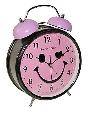 Großer Nostalgischer XL Retro Glocken Wecker Uhr Glockenwecker Quarzuhr Retrowecker Batteriebetrieben NEU (Rosa)
