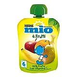 Nestlé Mio Frutta Grattugiata da Spremere 4 Frutti 100% Frutta senza Glutine da 6 Mesi - 16 pezzi da 90 ml [1440 ml]
