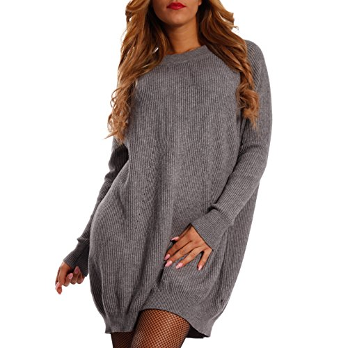 Damen Geripptes Strickkleid Long Pullover Oversize, Farbe:Jeansblau;Größe:One Size