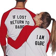 LSAltd ☪ Camiseta para Mujeres y Hombres Ropa para Novios y Novias Patchwork Camiseta Manga