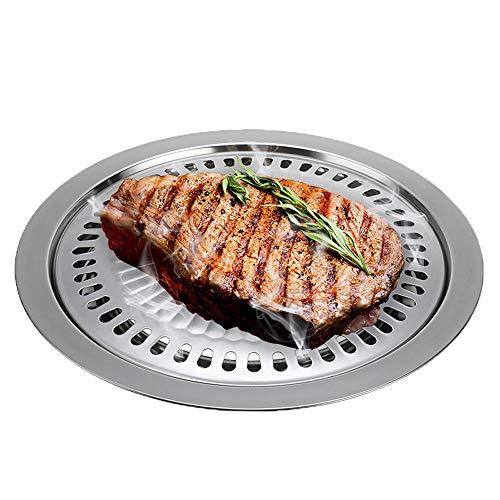 QHYXT Edelstahl Barbecue Gas Grillpfanne,Leichte und tragbare koreanische Outdoor-Gasherdplatte,Haushalt BBQ Antihaft-Kochwerkzeug (Silber) -