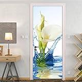 YUXAOYFAK Sticker Porte Eau d'hibiscus Porte Autocollant Chambre Salon Patio Toilette Porte Décalque Décoration De La Maison77X200Cm