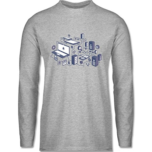 Nerds & Geeks - Netzwerk Design - Longsleeve / langärmeliges T-Shirt für Herren Grau Meliert