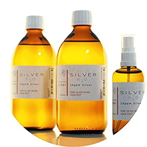 PureSilverH2O – Kolloidales Silber (1100ml) 2 x 500ml (10/15/25 oder 50ppm) + Spray (100ml/10/15/25/50ppm) SET