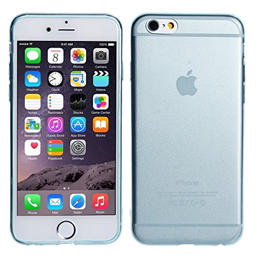 wortek Silikon Case Schutzhülle Extra Grip nur 0,45mm Dünn Apple iPhone 6 4,7 Zoll Pink Transparent Blau