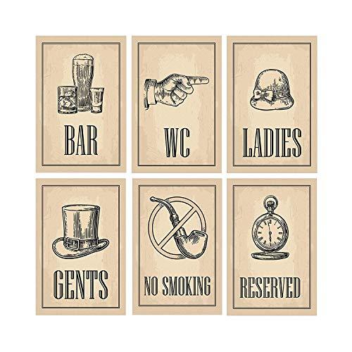 Set von 6 Vintage Decor Poster | Perfekte Bar Dekor oder Man Cave Signs | Einzigartige Geschenke für ihn | Lustiges Badezimmer Dekorationen | Cooles Plakat für Restaurant | Top-Geschenke für Papa