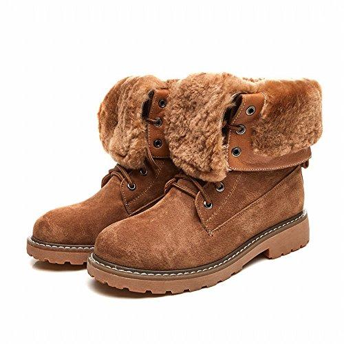 Scarponi Invernali da Donna in Tubo Spesso da Donna, Stivali in Cotone con la Suola Morbida Di Alta Gamma e Stivali Caldi in Velluto Cammello