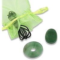 Unbekannt Schmuck-Set Aventurin grün, Donut, Tropfen, Lederband preisvergleich bei billige-tabletten.eu
