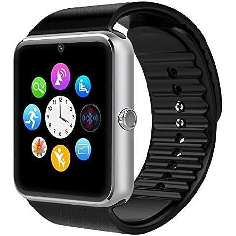 Smartwatch Reloj Inteligente VOSMEP soporte Facebook Twitter Teléfono Inteligente Pulsera 1.54 Pantalla Táctil Cámara para Android Samsung HTC LG Huawei Xiaomi Reloj Deportivos SIM/TF Plata
