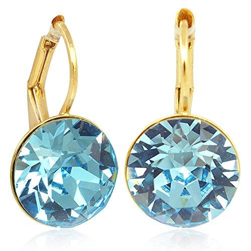 Ohrringe mit Kristallen von Swarovski Blau Gold Aquamarine NOBEL SCHMUCK