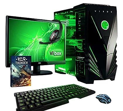 """VIBOX Apache 9A - Ordenador para gaming (21.5"""", AMD FX-6300, 16 GB de RAM, 1 TB de disco duro, Nvidia Geforce GTX 960) color neón verde - Teclado QWERTY Inglés"""