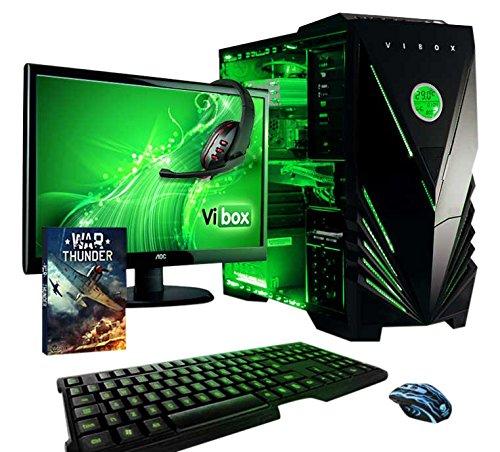"""Vibox Apache Pacchetto 9A Gaming PC con Gioco War Thunder, 21.5"""" HD Monitor, 4.1GHz AMD FX Quad Core Processore, nVidia GeForce GTX 960 Scheda Grafica, 1TB HDD, 16GB RAM, Case Predator, Neon Verde"""