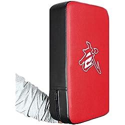 CDKJ PU Leather Rectangle Strike Punching Kicking Pad Arm Shield Target for Focus Training of Boxing Karate Muay Thai Kick(Rojo+Negro)