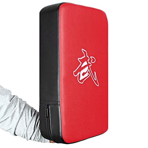 Hemore PU Leather Rectangle Strike Punching Kicking Pad Arm Shield Target for Focus Training of Boxing Karate Muay Thai Kick UFC MMA TKD RED + Black -