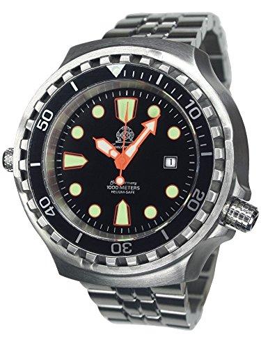 T0300M Montre de plongée avec bracelet en acier inoxydable et verre saphir, taille XL, 52mm