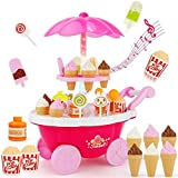 #5: Ice Cream Candy Cart 39 PCS Pretend Play Food Dessert and Cash Trolley Set Toy with Music Lighting Kids Girls Toys Miniature Sweet Shop – for kids 3+ luxury candy cart light music, a beautiful stand that holds ice creams many sweets