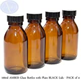 Bottiglie 100ml in vetro ambrato - Con tappo nero - Confezione da 4