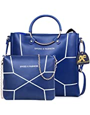 Speed X Fashion Women's Handbag With Shoulder Bag (Set of 2) (LWH00STY_Blue)