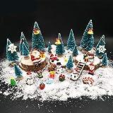 EMiEN 45PCS Winter Weihnachten Miniatur Ornament Kits für DIY Weihnachtsszene Fairy Garden Wohnkultur, Mini Weihnachtsbäume, Schneemann für Weihnachtsfeier Dekoration Micro Landschaft Zubehör