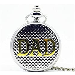 Black Dangle Dad Half Hunter Pokcet Watch White Dial Roman Numberical with Full Round Necklace.