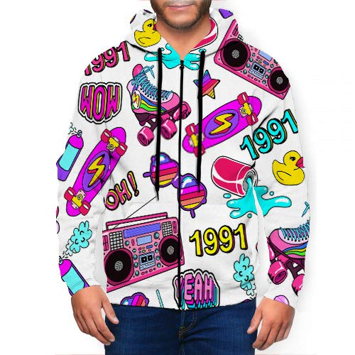 Men's Pullover Hooded Hoodie Sweatshirt with Pattern with Colorful s from The Nineties with Patches...