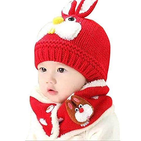 Bluestercool Echarpe bébé Caps, Garçons Filles Lapin dents Scarf + Enfant Chapeaux (0-5T, Rouge)