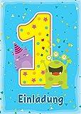 12 Einladungskarten 1. Kindergeburtstag Jungen Mädchen lustige Monster erste Geburtstag Geburtstagseinladungen Einladungen Geburtstagsparty Kartenset