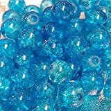 100 pieces 6mm Crackle Glass Beads - Aqua - A1612 by k2-accessories Crackle...