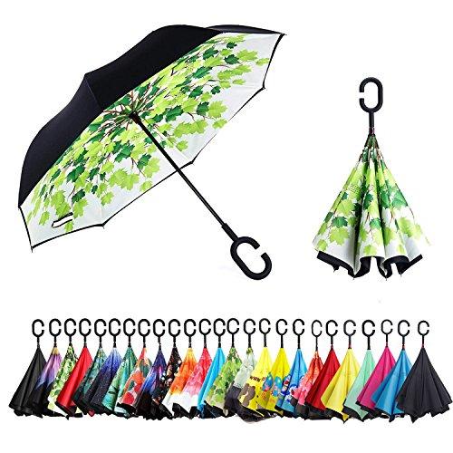 Sumeber Reversion Regenschirm, Innovative Schirme Double Layer Winddicht Regenschirm Freie Hand Taschenschirm inverted Stockschirme mit C Griff für Reisen und Auto Outdoor