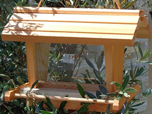 vogelhaus mit ständer BTV-VOFU2G-MS-hbraun002 Robustes, stabiles PREMIUM Vogelhaus mit ständer, FUTTERHAUS für Vögel, WINTERFEST – MIT FUTTERSCHACHT Futtervorrat, Vogelfutter-Station Farbe braun hellbraun braun/orange/natur, Ausführung Naturholz, mit KLARSICHT-Scheibe zur Füllstandkontrolle, Schreinerarbeit aus Vollholz - 3
