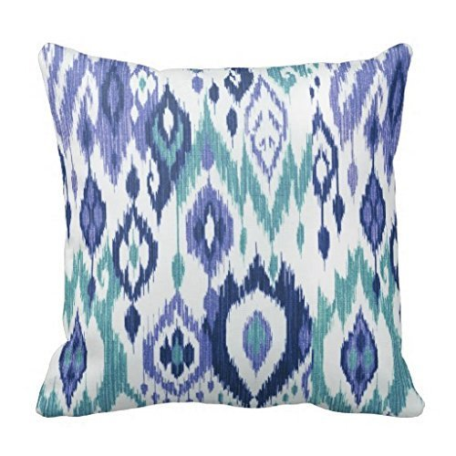 Juzijiang New Boho Chic Slate Aqua ICY Blue Ikat Tribal Tapestry Throw Pillow Cover Stylish,Decorative,Unique,Cool,Fun,Funky Beauty POP Two Sides16X16 inch (Cover Pop-up-camper)