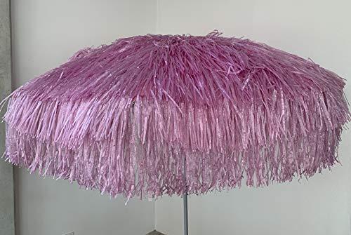 Jan Kurtz Hawaii Sonnenschirm, pink - rosa, Raffiabast - Polyester, Metallgestell lackiert, mit Knickgelenk Ø 180/200cm, Partyschirm, Dekoschirm