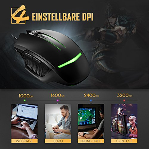 Gaming Mouse, Holife 3200 DPI Mouse game Optical Gaming Mouse 4 DPI Stufen mit 6 Tasten/7 wechselnden LED/ Ergonomisches Design/1.6M USB Kabel/ für Windows7/8/10/XP, Vista, Linux & Mac OS (Schwarz)