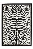 Lalee  347077960  Moderner Designer Teppich / Muster : Zebra Fell Optik / Schwarz Weiss / Grösse: 120 x 170 cm