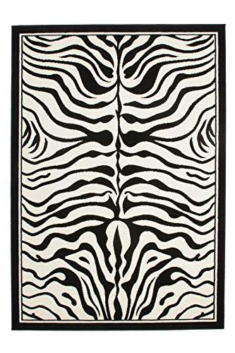 Lalee  347077960  Moderner Designer Teppich / Muster : Zebra Fell Optik / Schwarz Weiss / Grösse: 120 x 170 cm Grau Zebra