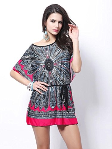 Bovake Frauen Retro Loose Ethnic Print Boho Skater Batwing Ärmel Mini Kleid (Hot (Flapper Pink Hot Kleid)