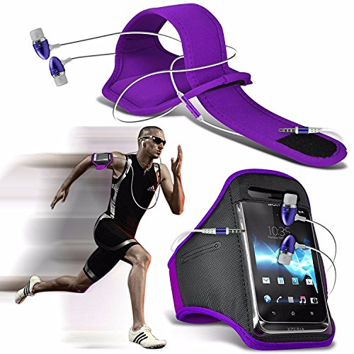 Huawei Honor 6X (2016) - Sports Running Jogging Ridding Bike Cycling Gym Arm Band Case Pouch Cover & Premium Quality Aluminium In Ear Earbud Stereo Hands Free Headphones Earphone Headset with Built in Purple