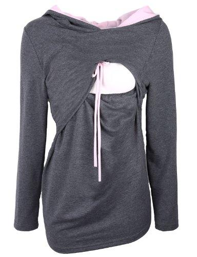 Be! Mama - 2in1 Umstandspullover, Sweatshirt mit Kapuze, Still-Pulli, Modell: DUO Dunkelblau