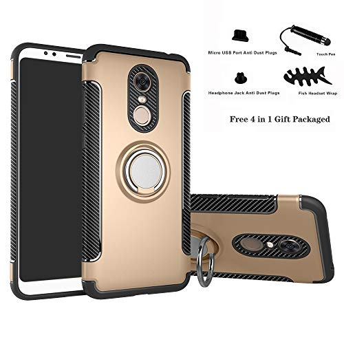 Labanema Xiaomi Redmi 5 Plus Funda, 360 Rotating Ring Grip Stand Holder Capa TPU + PC Shockproof Anti-rasguños teléfono Caso protección Cáscara Cover para Xiaomi Redmi 5 Plus - Oro