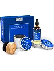 Anjou Beard Care Kit Treatment Gift Set for Men - 1x Beard Oil, 1x Beard Balm and 1x Boar Bristle Beard Brush - 100 Percent Natural, Natural Grooming Shaping Kit (Hair Repair and Growth - Vitamin E)