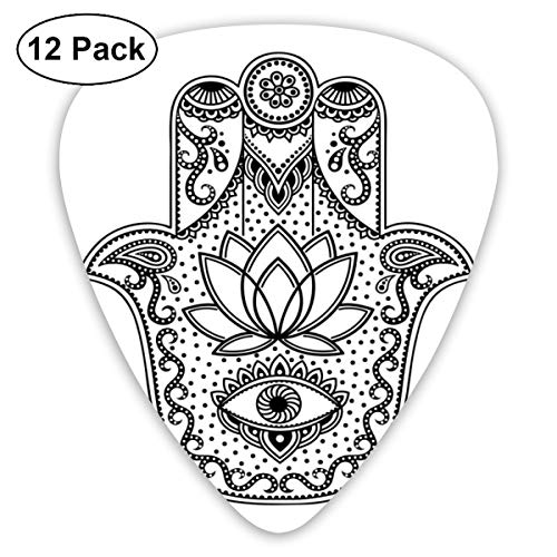 Guitar Picks12pcs Plectrum (0.46mm-0.96mm), Arabic Ethnic Amulet Design Ancient Hamsa Symbol With Swirls And Lotus Flower,For Your Guitar or Ukulele (Swirl Halloween Nails)