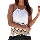Mujer Blusa verano,Sonnena   sexy off hombro blusa con tirantes Patrón de nacional estilo estampado sin manga casual moda traje de verano fresco (M, BLANCO)